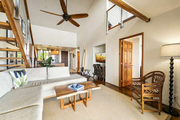 Open Living Area with Ceiling Fan and Loft at Country Club Villas 338
