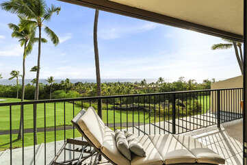 Lanai with Lounge Seating and Views of the Ocean and Golf Course at Kona Country Club Villa