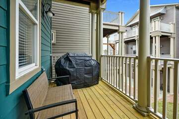 Main level balcony with gas grill