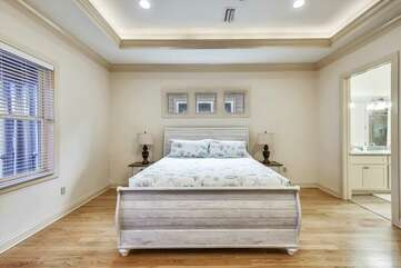 Upper level - master bedroom with king size bed