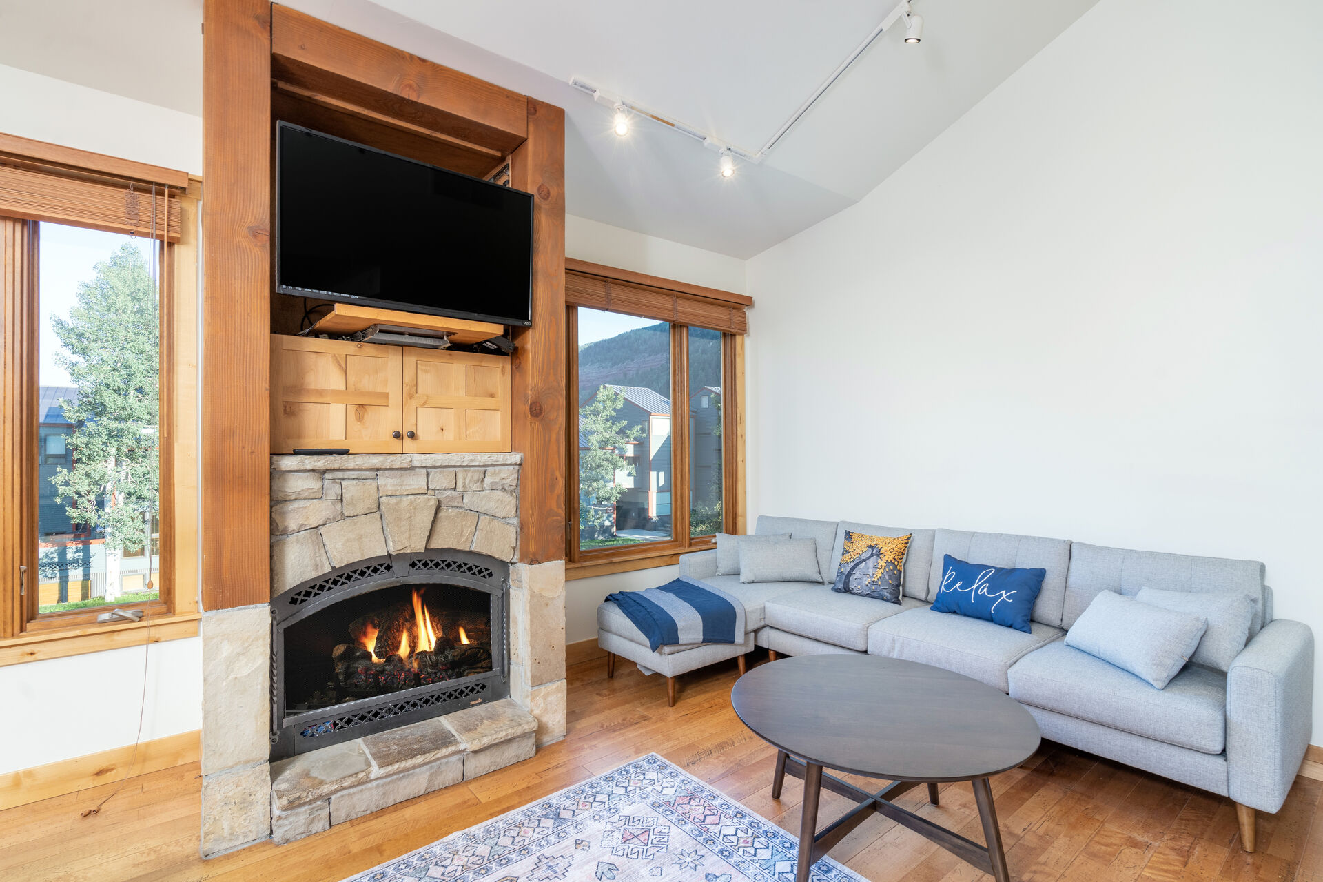 Open living room with fireplace