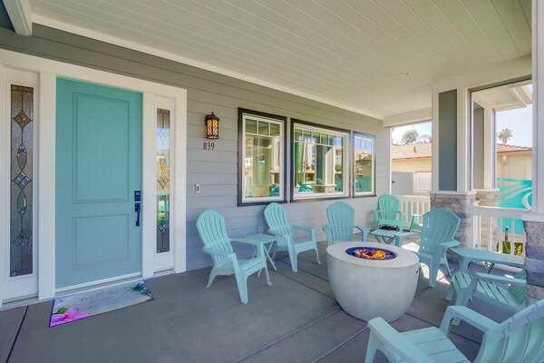 Front Entry with Fire Pit and Seating