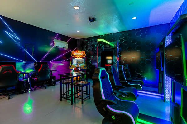 Gamers will be entertained by the garage game room