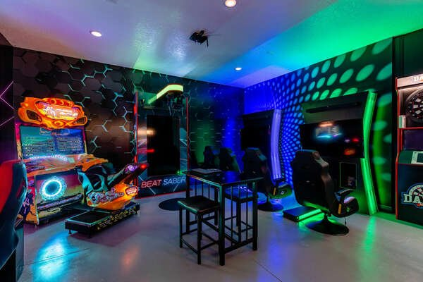 Try a game of virtual reality or arcade racing