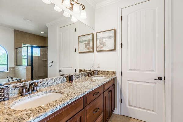 Ensuite bathroom with dual vanity sinks