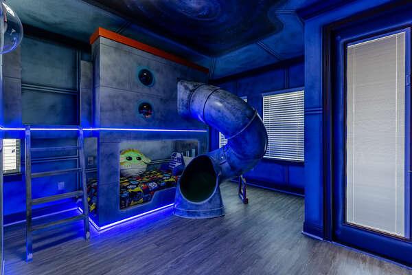 Kids will love this custom-built bedroom