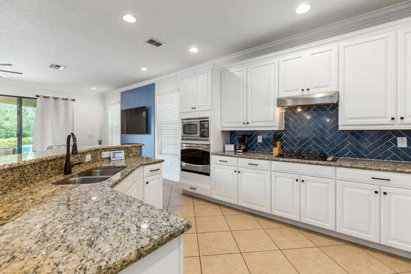 A fully equipped kitchen is ready for any chef