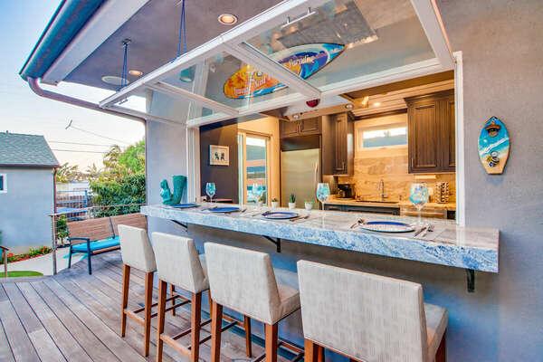 Indoor/Outdoor Kitchen Bar - First Floor