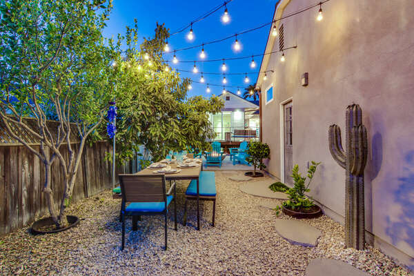 Outdoor Dining with String Lighting