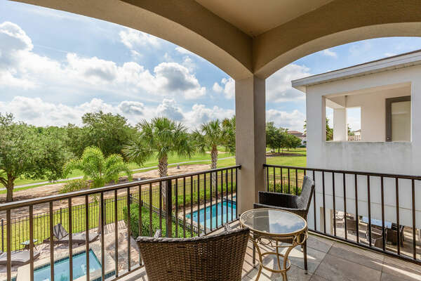 Take in the view of the golf course on your private balcony