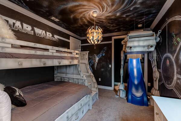 Travel far, far away to a galaxy-inspired bedroom