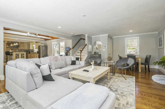 Living room stairs to bonus room over living room - 44 Avalon Circle Osterville Cape Cod New England Vacation Rentals