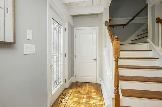 Front door and stairs to upper level with office, Bedroom #3 and Bathroom #2 - 44 Avalon Circle Osterville Cape Cod New England Vacation Rentals