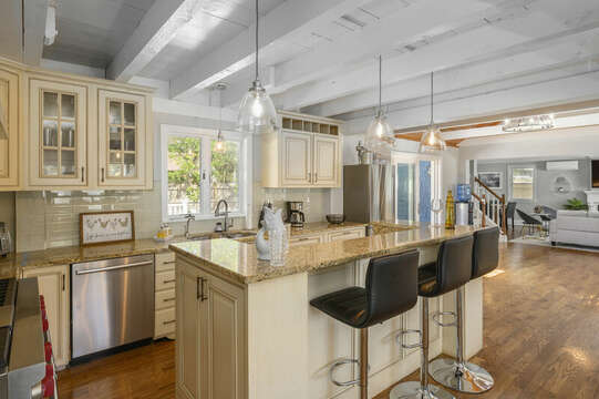 Center island with seating for 3 - 44 Avalon Circle Osterville Cape Cod New England Vacation Rentals