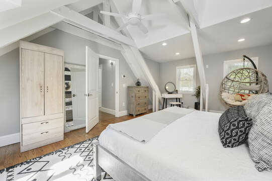 Bedroom #3 King bed, armoire, skylights, bamboo swing, ceiling fan - 44 Avalon Circle Osterville Cape Cod New England Vacation Rentals