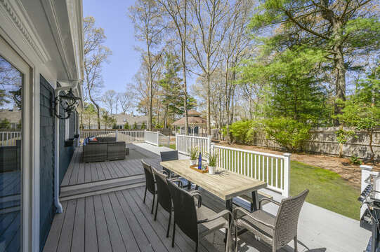 Multi level deck with two seating areas - 44 Avalon Circle Osterville Cape Cod New England Vacation Rentals