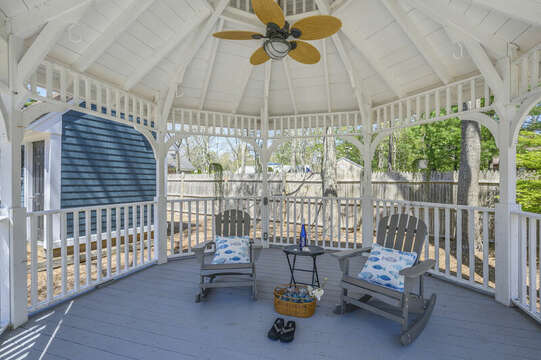Relax under the gazebo while the kids are playing in the in-ground pool across the way  - 44 Avalon Circle Osterville Cape Cod New England Vacation Rentals