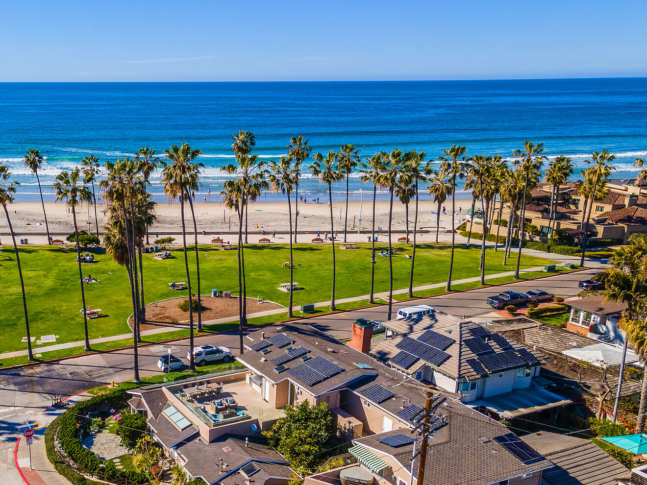 Aerial view displaying home's rooftop deck steps to Kellog Park and our most family friendly La Jolla Shores Beach.