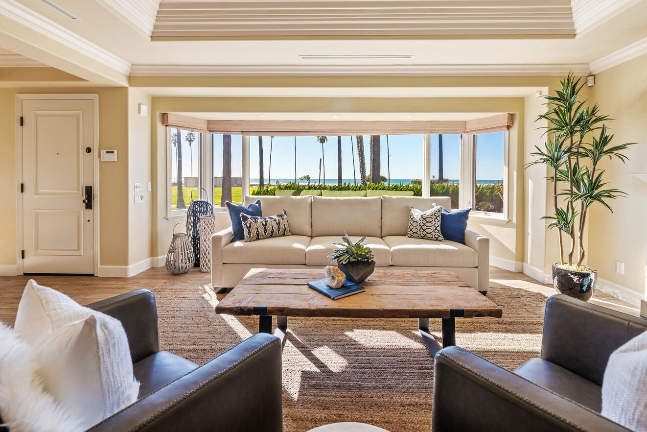 Bright and airy oceanfront views from the formal sitting area.