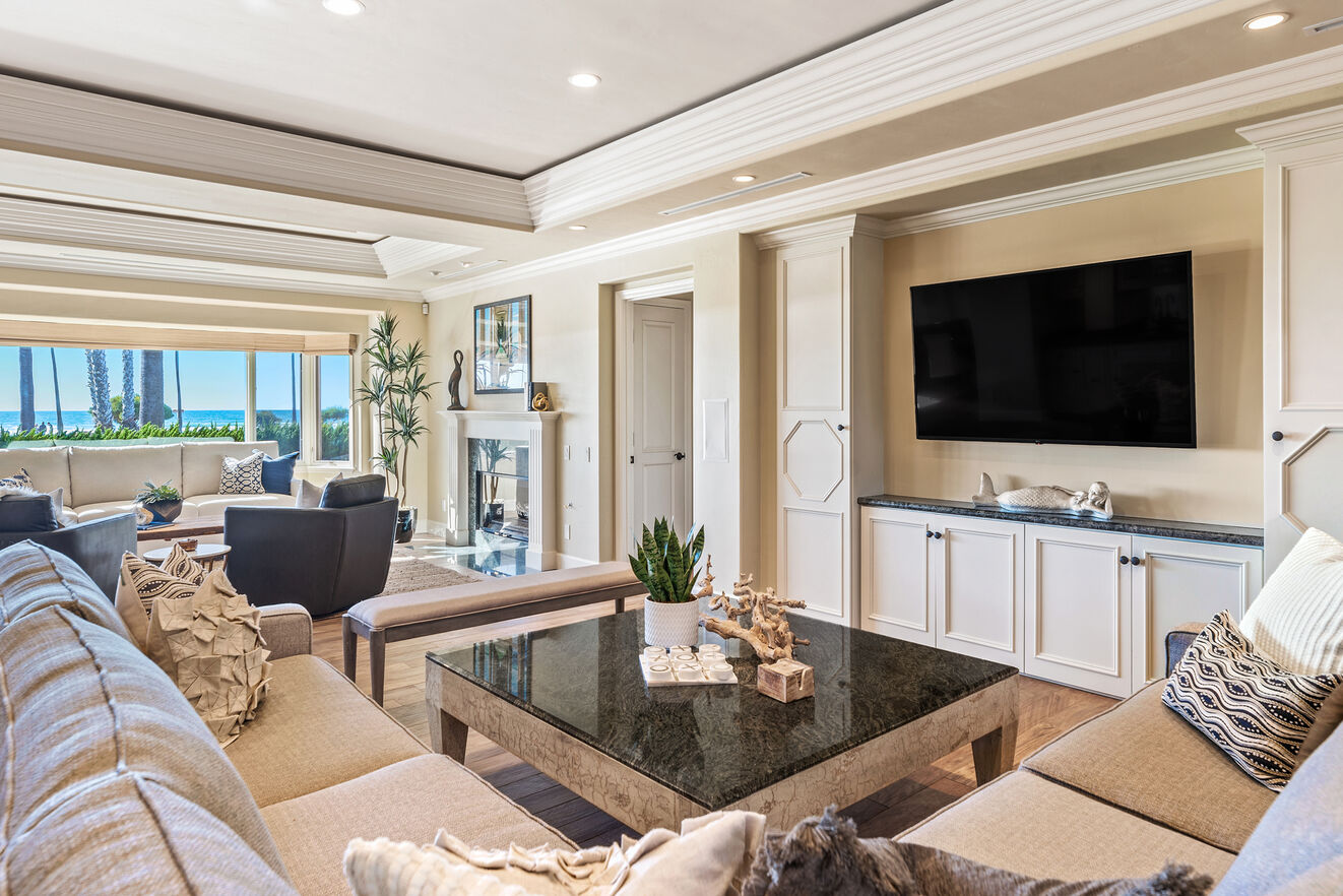 Ample seating and a large TV are the perfect combination for a family night in.