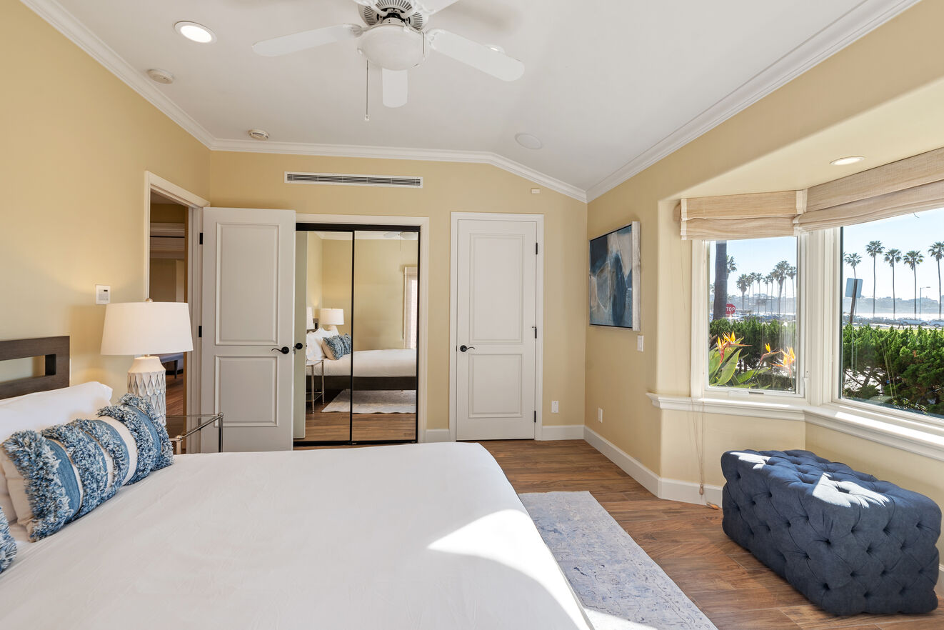 Bedroom # 1 - main level with ocean view, King size bed, shared bathroom