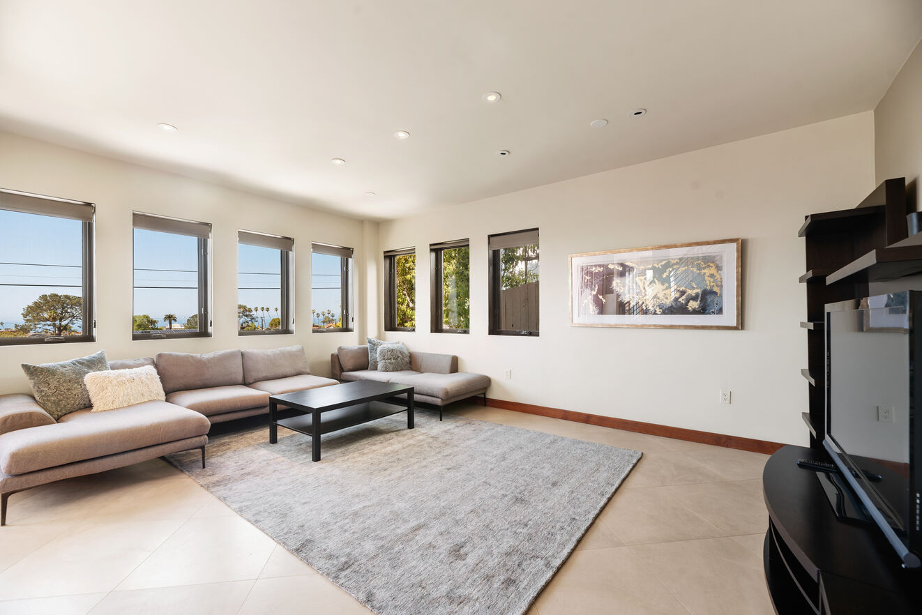 Family entertainment room with ocean views