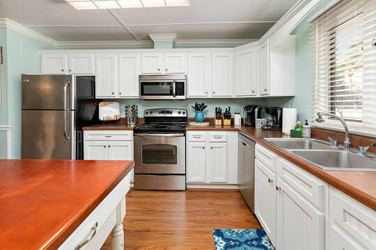 Kitchen area with large island