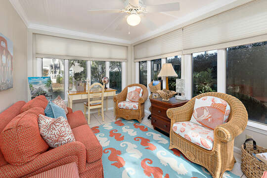 Sun Porch off living area with views of private backyard