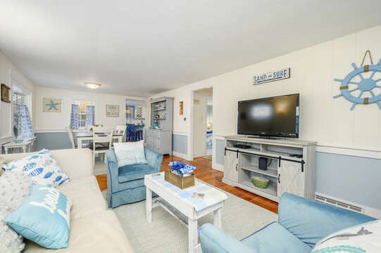 Open concept living room with comfy furniture - 85 Pond Street South Yarmouth Cape Cod - New England Vacation Rentals