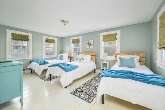 Bedroom 2 - The Goldilocks Room - three twin beds - 85 Pond Street South Yarmouth Cape Cod - New England Vacation Rentals