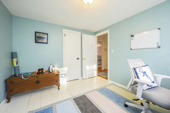 Yoga mat, barbells to keep in shape for the beach - 85 Pond Street South Yarmouth Cape Cod - New England Vacation Rentals