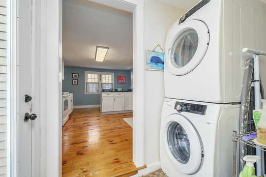 Washer Dryer on main level before stairs to upper level - 85 Pond Street South Yarmouth Cape Cod - New England Vacation Rentals