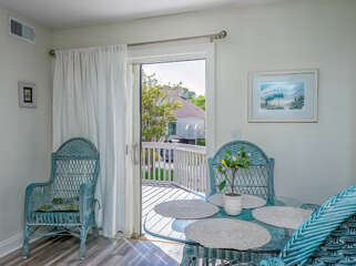 A great bistro table for morning breakfast. There is a slider leading to the front deck.