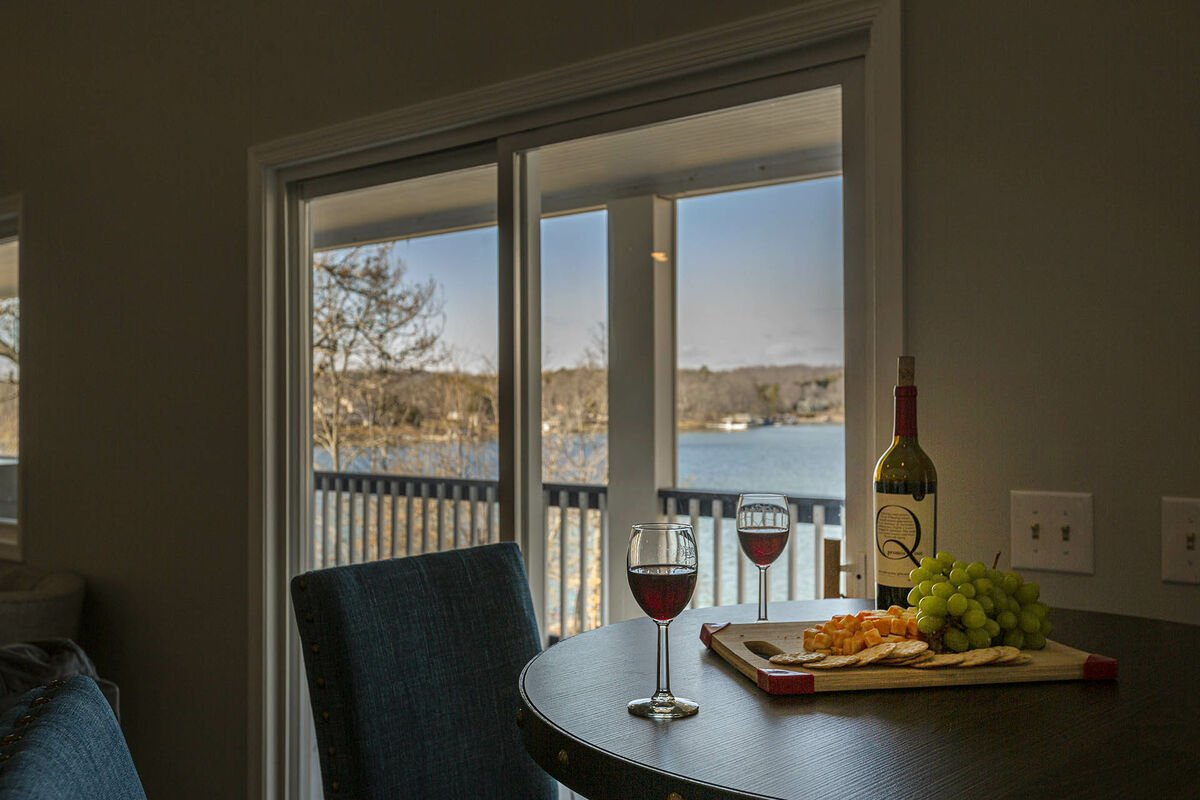 Relax at night by any of the large windows overlooking the lake