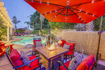 The comfortable patio chairs will have you relaxing all night long.