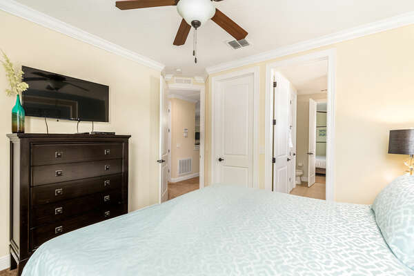 Furnished with a SMART TV and connected to the Jack-and-Jill bathroom
