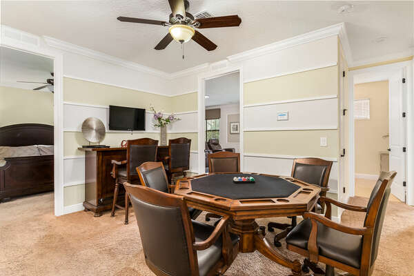 Loft area with a poker table