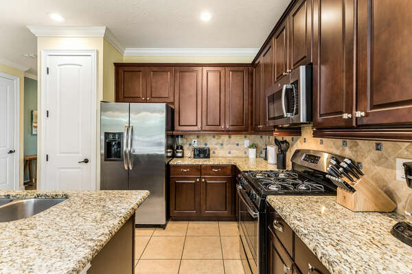 A fully equipped kitchen ready for you to create a delicious meal