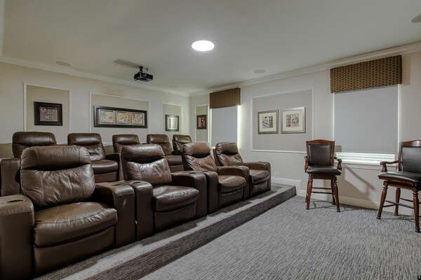 Sit back and relax in the upstairs theater room