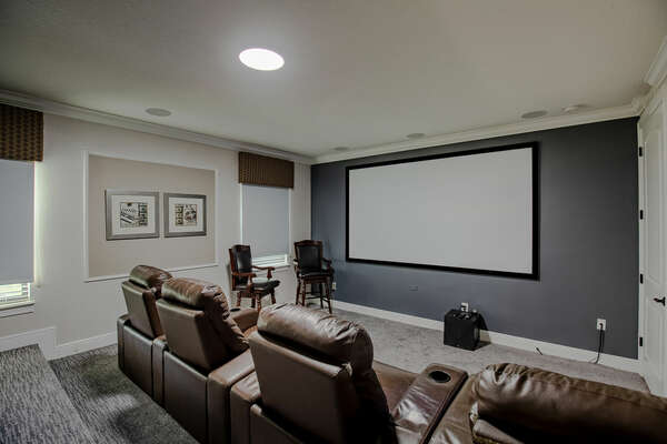 Enjoy a movie on the big screen projector