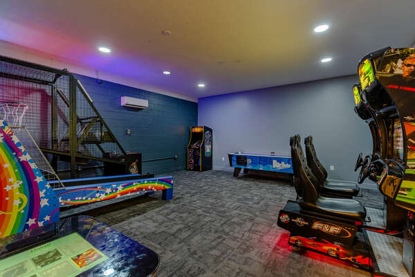 Head to the garage for the game room