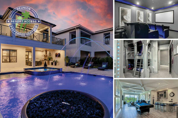 Welcome to Luxury Paradise Palace a modern, immaculate,and luxurious villathat features 6-bedrooms and 6.5-bathrooms located in the prestigious Bear's Den Club at Reunion Resort. |