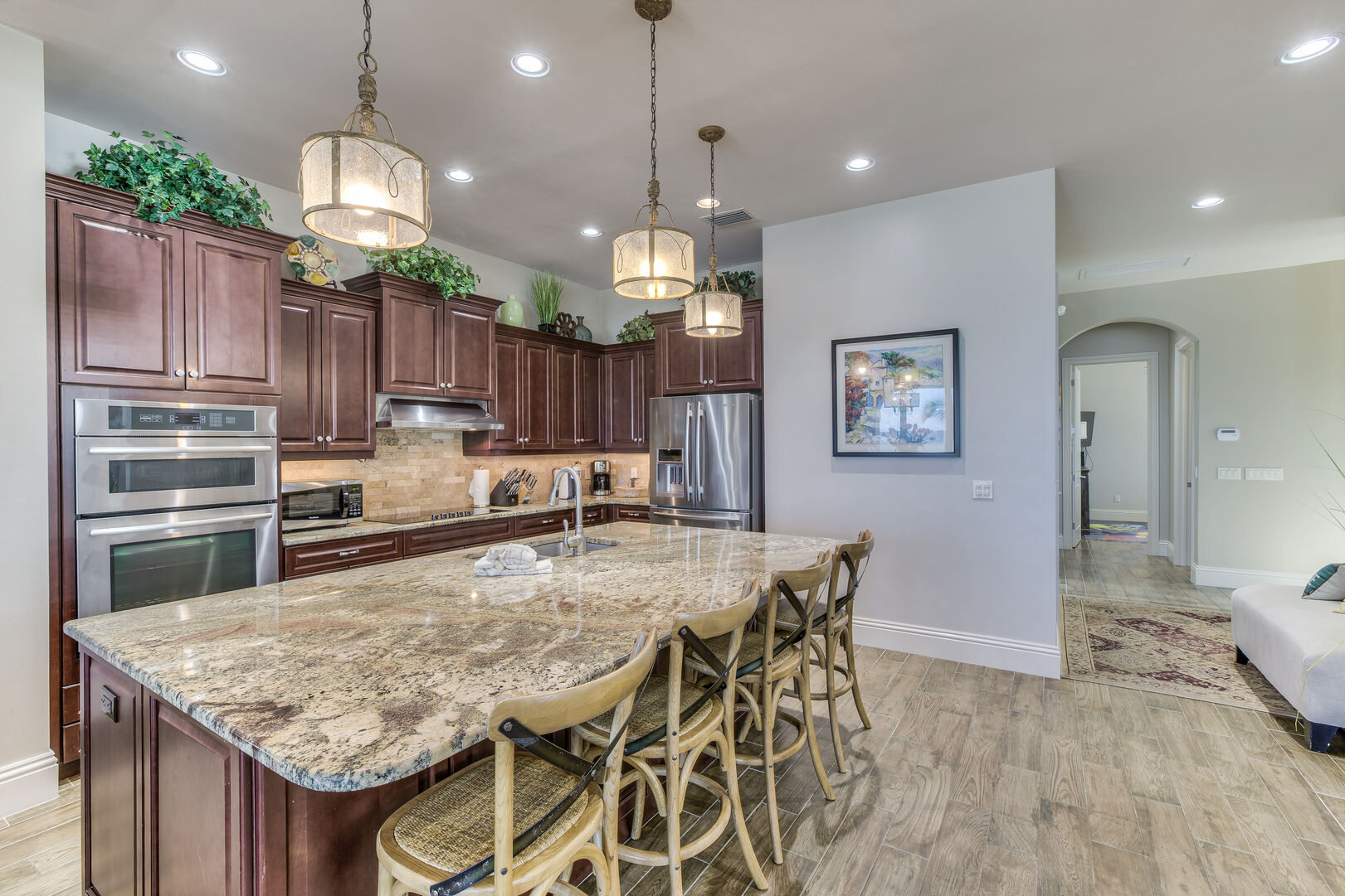 Kitchen with island seating for four in our Fort Myers vacation home rental