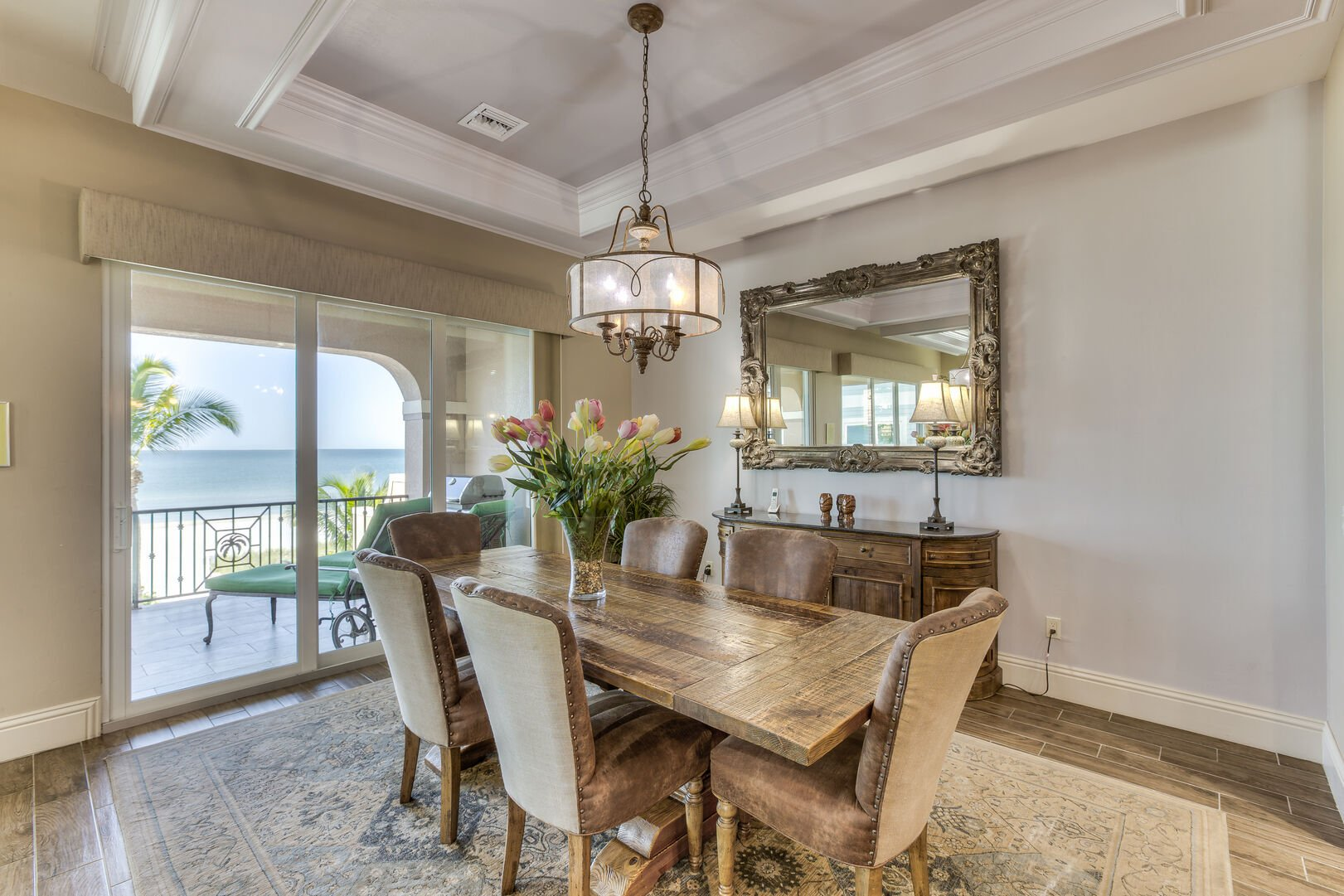 Dining room with dining table seating for six in our Fort Myers vacation home rental