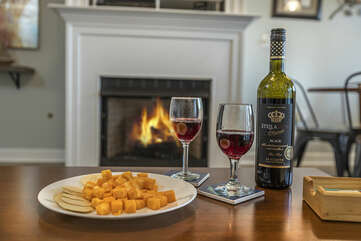 Wine at Night with the Fireplace