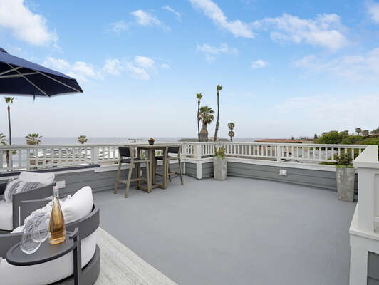 Spacious Roof Deck w/ Ocean Views, Plush Seating & Fire Pit