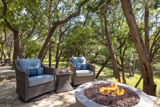 Lower back yard patio with swing and fire pit