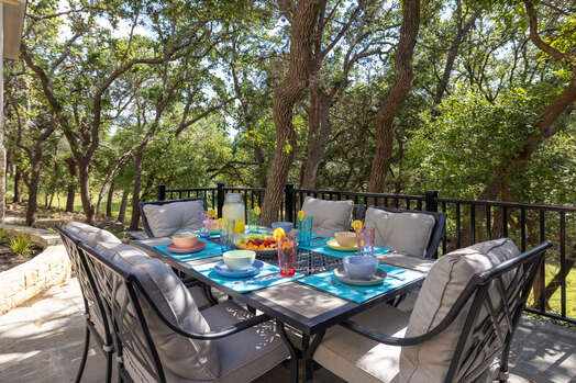 Outdoor dining under the shade trees