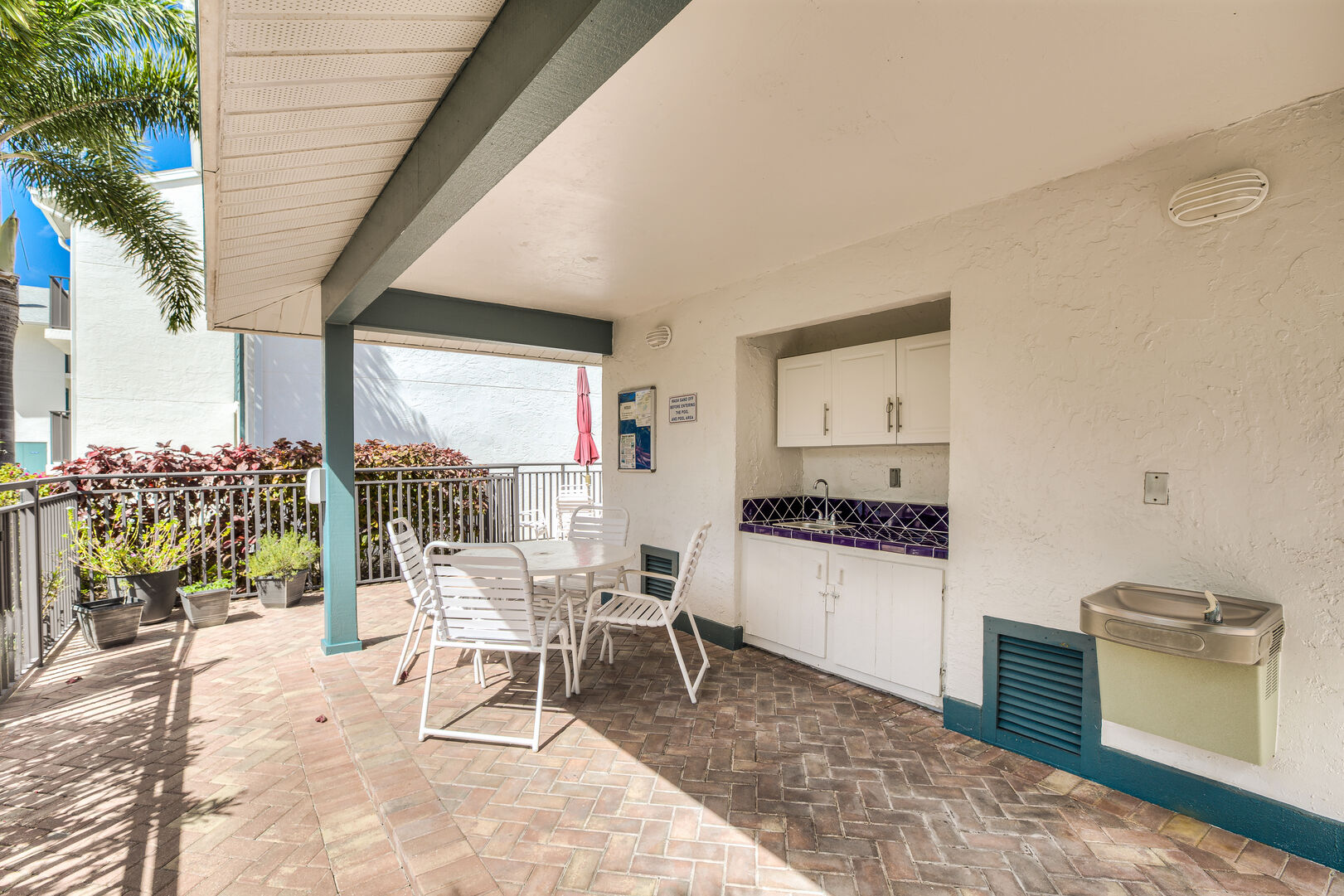 outside seating and small kitchen