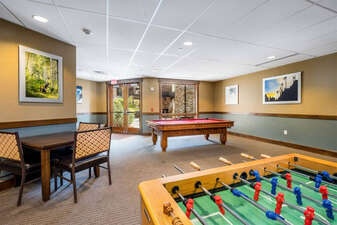 Game Room with foosball and pool table